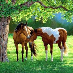 DIY Diamond Embroidery Forest Two Horses Full Drill Diamond Painting Cross Stitch Rhinestone Mosaic Home Decoration Painting - King City Treasures Pretty Horses, Horse Love, Beautiful Horses, Animals Beautiful, Horse Drawings, Animal Drawings, Cross Paintings, Animal Paintings, Horse Artwork