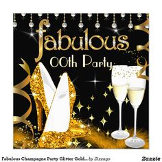 Fabulous Champagne Party Glitter Gold High Heels 5.25x5.25 Square Paper Invitation Card