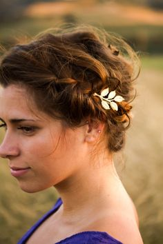 Gold Leaves Leaf on Branch Bobby Pin Leaf Hair Pin Grecian Woodland Wedding Bridal Hair Clip Gold Barrette
