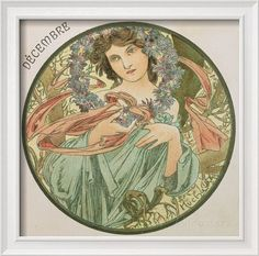 December, 1899 (Detail) Giclee Print by Alphonse Mucha - AllPosters.co.uk