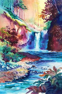 "Limited Edition Watercolor Painting Prints. Oregon Waterfalls. ""Sunlit Falls"" -Michael David Sorensen-Pacific Northwest"