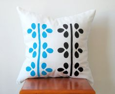 Black and Blue Vine Pillow Cover Hand Printed by AnyarwotDesigns, $20.00