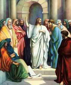 Jesus Picture Teaching People In The Synagogue