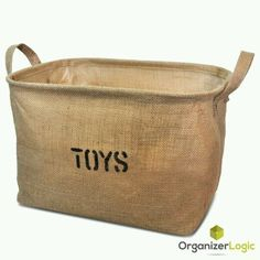 Jute Storage Bin, Eco-Friendly for Toy Storage - Medium Size