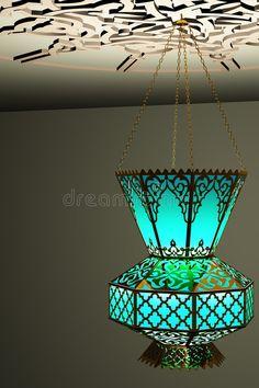 Photo about Islamic style lantern - vintage style lamp. Illustration of luminous, ceiling, lantern - 6780183 Moroccan Lighting, Moroccan Lamp, Moroccan Lanterns, Moroccan Design, Hanging Lanterns, Hanging Lights, Diwali Lantern, Turkish Lamps, Stained Glass Lamps