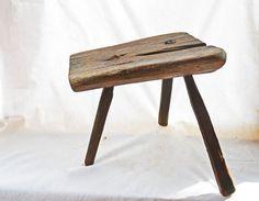 Antique Milking Stool Primitive 3 Legged Wooden by Vintassentials