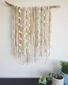 Beautiful modern boho woven wall hanging on driftwood by Weaverella