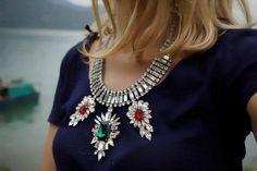 Poison Ivy - fabulous swarovski rhinestones statement necklace - made to order
