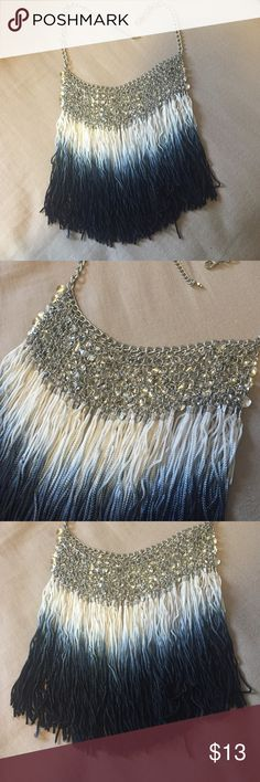 Navy Ombré Fringe Necklace Very cute! Worn once, got tons of compliments! No fading, still like new. Branded for views. Boohoo Jewelry Necklaces