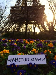 The sun sets behind the Eiffel Tower as we're counting down the hours for tomorrow's show! #HMStudioAW14 #PFW