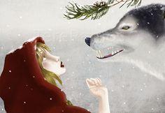 Little Red Riding Hood / Le Petit Chaperon Rouge Red Riding Hood Wolf, Little Red Ridding Hood, Fairytale Fantasies, Fairytale Art, Charles Perrault, Snow Art, Big Bad Wolf, Red Books, Love Illustration