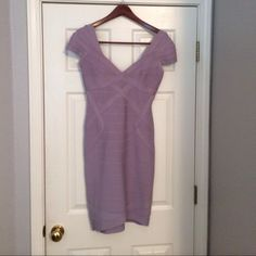 Herve Leger Sugar Plum Dress Just dropped 40%!!!!! This classic 100% Authentic designer lilac colored Herve Leger Dress flatters all shapes! It has only been worn once. Willing to take best offer! Herve Leger Dresses