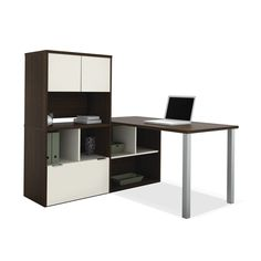 Bestar Contempo L-Shaped desk with storage unit is perfect for your office. The Contempo Collection is built for the modern office with its flexible design, it offers large work surfaces, various storage solutions and multiple configurations.