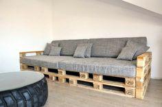 Sofa aus Europaletten graue Polsterung