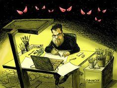 Dangerous Job © Petar Pismestrovic,Kleine Zeitung, Austria,Political cartoon, News paper, Terror, Cartoonist, Angst, Radicalism, Job, Arts