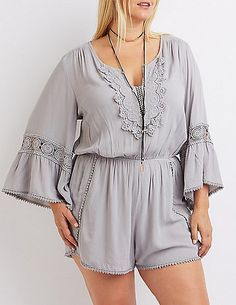 Plus Size Crochet-Trim Romper * Read more reviews of the product by visiting the link on the image.