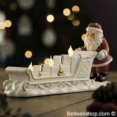 Belleek Living Santa Sleigh Votive - Christmas Decorations