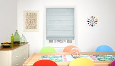 Dupioni Faux Silk Duck Egg Roman Blind