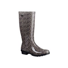 Women's UGG Shaye Leopard Rain Boot - Black Casual ($80) ❤ liked on Polyvore featuring shoes, boots, black, casual, waterproof boots, rubber boots, waterproof rain boots, rain boots, waterproof rubber boots and black boots