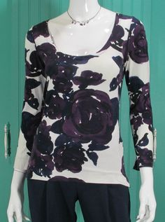 Piazza Sempione Sweater Womens Scoop Neck Floral Knit Top Purple  93% OFF #PiazzaSempione #ScoopNeck