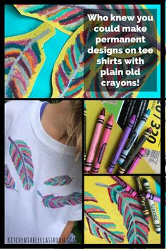 My kids love wearable art. This fabric printing method is especially do-able because it doesn't require any special fabric medium, just plain old crayons. Use plain crayons and sandpaper to make bright, colorful designs on any cotton t-shirt. Diy T Shirt Printing, T Shirt Diy, Fabric Printing, Printed Shirts, Crafts To Do, Crafts For Kids, Tie Dye Crafts, Old Crayon Crafts, Glue Gun Crafts