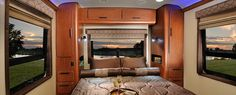 We wouldn't mind sleeping in this motorhome, you? Interior Bedroom in the Aviator Trailer with large bed, bliss!
