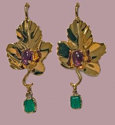 18K Maple Leaf drop Earrings, 20th century. | From a unique collection of vintage more earrings at https://www.1stdibs.com/jewelry/earrings/more-earrings/
