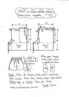 Short mauricinho ou cueca samba canção – Marlene Mukai Sewing Shorts, Sewing Clothes, Como Fazer Short, Short O, Short Shirts, Couture Sewing, Culottes, Dress Sewing Patterns, Pants Pattern