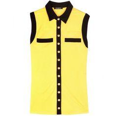 Balmain Sleeveless Top ($355) ❤ liked on Polyvore featuring tops, shirts, yellow, shirts & tops, no sleeve shirts, yellow top, balmain y sleeveless tank tops
