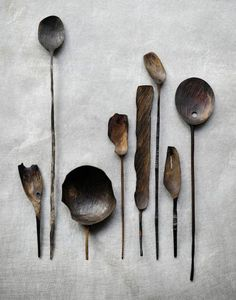 Marie Eklund's hand-carved, wooden spoons: beauty in their simplicity. She works from Stockholm & Wooden Spoon Carving, Carved Spoons, Wood Spoon, Wood Carving, Wood Sculpture, Abstract Sculpture, Bronze Sculpture, Wooden Art, Wooden Kitchen