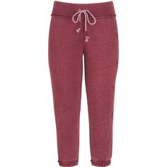 maurices Cropped Burnwash Sweatpant With Graphic ($29) ❤ liked on Polyvore featuring activewear, activewear pants, deep cranberry, red sweatpants, cropped sweat pants, maurices, cotton sweat pants and cotton sweatpants