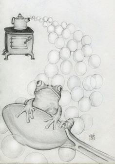 "©Carolyn Watson Dubisch  ""Froggy Bubbles"" from my sketchbook"