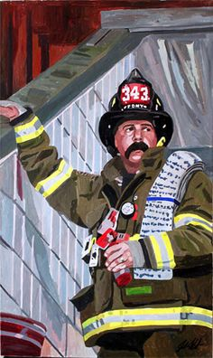 "commissioned portrait of a firefighter- acrylic on canvas, 24"" x 40"""