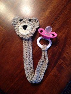 Crochet Bear Pacifier Clip on Etsy, $12.00
