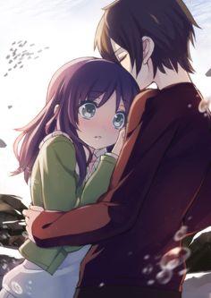 ✮ ANIME ART ✮ anime couple. . .romantic. . .love. . .sweet. . .hug. . .embrace. . .surprised. . .blushing. . .cute. . .kawaii