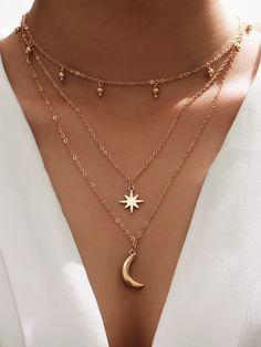 Stylish Jewelry, Simple Jewelry, Cute Jewelry, Jewelry Accessories, Fashion Jewelry, Geek Jewelry, Back Necklace, Cute Necklace, Star Necklace