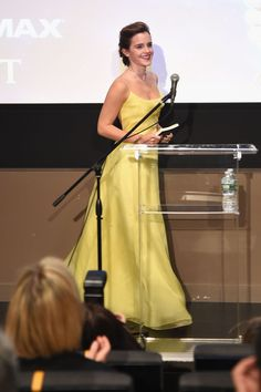 "Emma Watson wore this yellow Belle worthy Dior gown at a ""Beauty and the Beast"" press event in New York City."