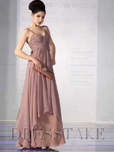Delicate A-line Sweetheart Floor-length Chiffon Brown Prom Dresses, US$52.99