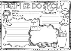 Těším se do školy Beginning Of The School Year, First Day Of School, Back To School, Teaching Tips, Coloring Pages, Psychology, Bullet Journal, Classroom, Education