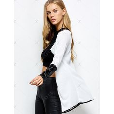 PU Leather Insert Long Sleeve Cardigan (45 BAM) ❤ liked on Polyvore featuring tops, cardigans, long sleeve cardigan, white long sleeve cardigan, white long sleeve top, pleather top and cardigan top