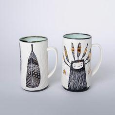 Porcelain mugs by ceramic artists Laura Sharp (Calgary, AB)