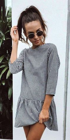 summer outfits Gingham Dress with ruffle hem