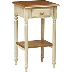 Country Cottage Tall Side Table, White-Wash Patina Finish