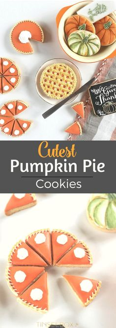 The Cutest Pumpkin Pie Cookies for Fall. These Thanksgiving sugar cookies are the best! via @tinselbox_