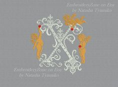Monogram Letter X with angels. In style of от EmbroideryZone