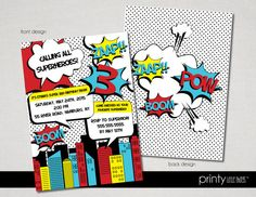 Retro Superhero Invitation  Digital by printylittlethings on Etsy