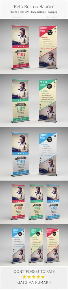 Retro Rollup Banner — Photoshop PSD #roll-up #retro style • Available here → https://graphicriver.net/item/retro-rollup-banner/10393914?ref=pxcr