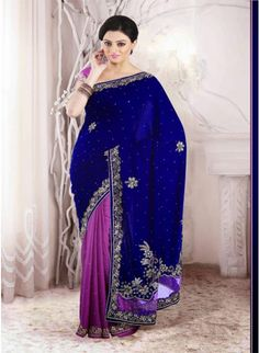 Magenta and Navy Blue #saree with velvet and chiffon jacquard fabric
