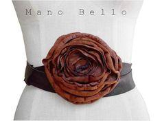 Leather Flower Wrap Waist Belt  Rust and Brown custom by ManoBello, $225.00