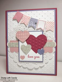 Labor intensive for a class but pare it down a little and it could work. Stamp With Sandy: Banner Blast Valentine Stampin' Up! Stampin Up Karten, Stampin Up Cards, Valentine Love Cards, Valentine Banner, Valentine Hearts, Valentine Ideas, Cute Cards, Pretty Cards, Card Sketches